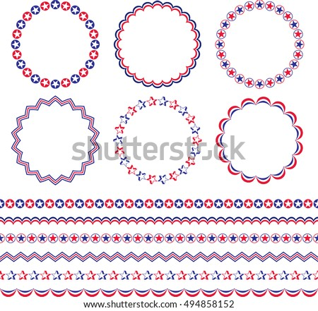 Red White Blue Patriotic Frames Borders Stock Vector Royalty Free