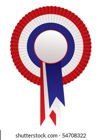 Red white and blue patriotic rosette award with ribbon