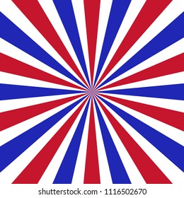 red white and blue retro sunburst pattern design with rays of sunshine the color of the American flag, patriotic July 4th or memorial day background