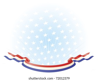 Red White Blue Ribbon Banner across stars background