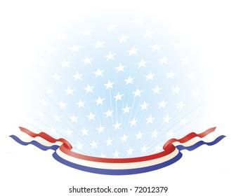 Red White Blue Ribbon Banner across stars background
