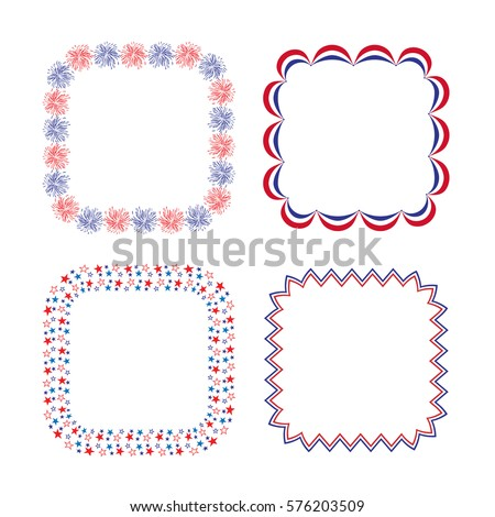 Red White Blue Square Frames Stock Vector Royalty Free 576203509