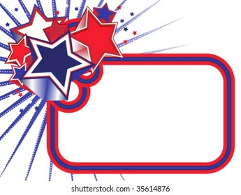 Red, White and Blue Stars Banner on white background