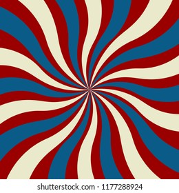 red white and blue swirled stripe pattern vector with July 4th or veterans day colors in a groovy starburst or sunburst design that is a wavy and twirled background