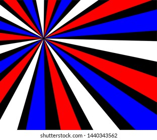Red, white and blue triangle ray beams or starburst design on a black background