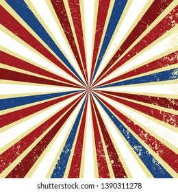 Red white and blue vintage background vector with sunburst or starburst retro design with grunge texture. Striped radial pattern for July 4th, memorial day, or veterans day patriotic backgrounds.