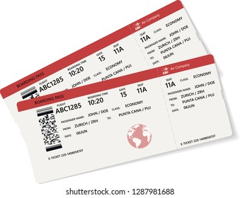Red and white boarding pass. Vector illustration. Isolated over white