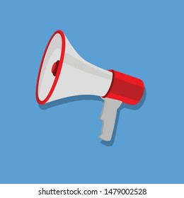 Red and white bullhorn public address megaphone isolated on blue background
