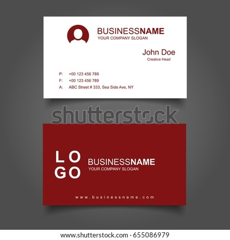 Red White Business Card Template Stock Vector Royalty Free