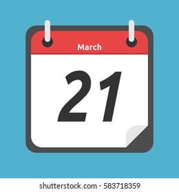 Red and white calendar showing 21 of March date isolated on blue background. Spring equinox and time concept. Flat design. Vector illustration. EPS 8, no transparency