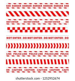 Red and white caution tapes, seamless borders set on white