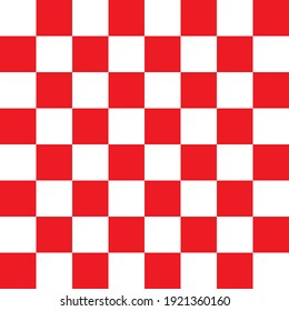 Red and white checkerboard pattern. Seamless vector design suitable for fashion, home wares and branding