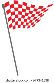 Red and white checkered flag or Red and white checkered background on isolated white background with illustrator simple design