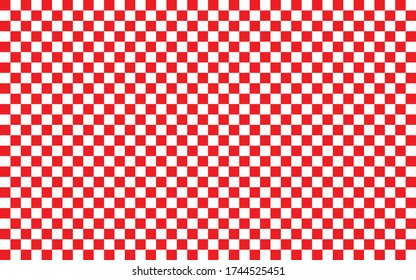 Red and white checkered pattern background. Vector illustration of red and white squares. Wallpaper consist of repeatable texture. Croatian checkerboard concept.