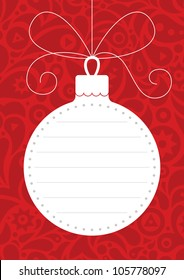 Red and white Christmas card. Christmas ball with red ornamental background.