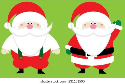 Red and white Christmas Santa Claus with a pink nose on a green background.