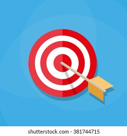 Red white circle darts target with orange arrow in center. Sport, shooting. Vector illustration in flat design on blue background