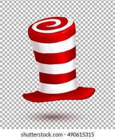 Red and white colors striped realistic vector crazy carnival hat isolated on transparency grid background