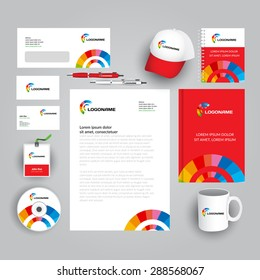 Red and white corporate identity template with colorful logo, rainbow style. Stationery template. Vector company style for brandbook and guideline. Documentation for business.