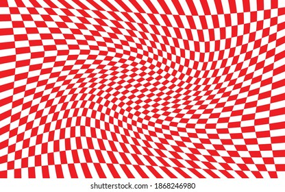 Red and white distorted checkered pattern background. Vector illustration of red and white squares. Torsion, twist, rotary deform, gyration, revolve checkerboard graphic. Croatian checkerboard concept