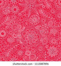 Red & White Doodle Repeat Pattern