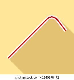Red white drink straw icon. Flat illustration of red white drink straw vector icon for web design
