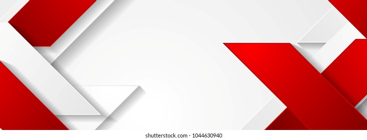 Red and white geometric corporate banner design. Vector background