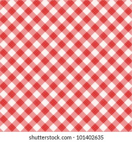 Red and white gingham cloth background with fabric texture, suitable for Mother's Day designs, plus seamless pattern included in swatch palette ( for high res JPEG or TIFF see image 101402638 )