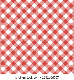 Red and white gingham cloth background with fabric texture.