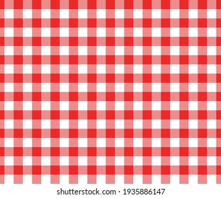 Red and white gingham seamless pattern. Checkered texture for picnic blanket, tablecloth, plaid, clothes. Italian style overlay, fabric geometric background, retro textile design. Vector illustration.