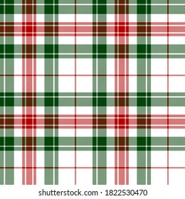 Red, White and green tartan plaid Scottish seamless pattern.Christmas and New year concept.Vector illustration.Texture from tartan, plaid, tablecloths, clothes, shirt, dresses, paper, bedding,blanket.