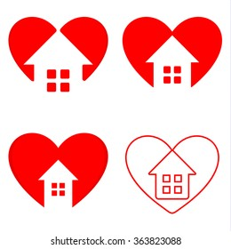 Red and white heart with house inside vector set. Designed real estate company logo. Building company signs. Business card elements. Home sweet home illustration.Valentines day greeting cards.