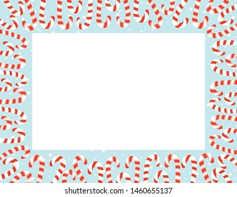 Red and White Holiday Christmas and New Year Flat Candy Canes and Snowfall Square Rectangular Vector Frame. Winter Holiday Print. Festive Background