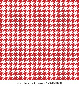 Red and white houndstooth pattern vector. Classical checkered textile design.