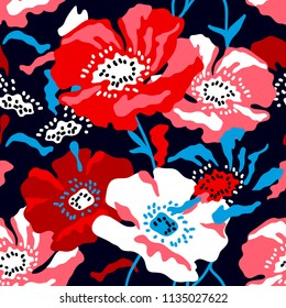 Red and white large poppies on dark blue background. Seamless floral pattern with Spanish motifs. Trendy design for textile, cards and covers.