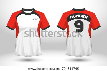 Red White Layout Football Sport Tshirt Stock Vector Royalty Free