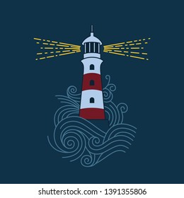 Red and white lighthouse among the waves of the sea. Vector image of a lighthouse.