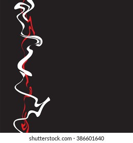 Red and white lines interwoven on a black background. Vector illustration. Illustration in the Oriental style