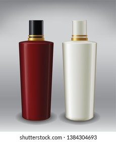 Red White Liquid Opaque Plastic Bottle and Lid Product Packaging Realistic