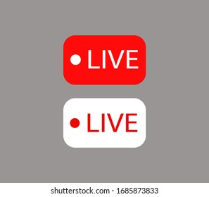red and white live icon, live symbol
