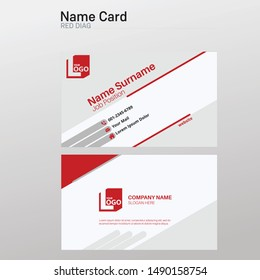 Red white Modern business card template design simple & elegant.