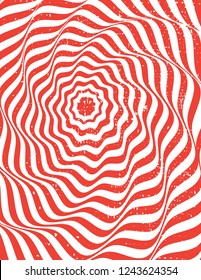 Red and white optical illusion art circle. Background with texture