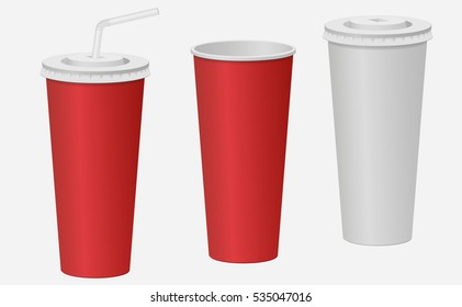 Red and white paper cup with a lid mockup. Carbonated drink. Vector illustration