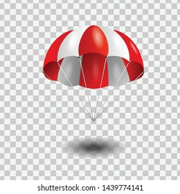 Red and White parachute on transparent background.