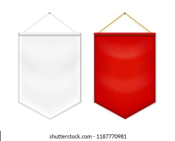 Red white pennant template blank vector.