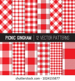 Red and White Picnic Tablecloth Style Gingham and Checks Vector Patterns. Backgrounds for Restaurant Menus or Food Packaging. Pixel Pattern Tile Swatches Included.