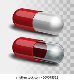 Red and white pill and red and transparent pill. Vector illustration