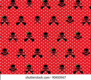 Red with White Polka Dots and Black Rock Musician Skull and Cross Bones with Green Girlie Bows Pattern Background Fabric or Wrapping Paper Design