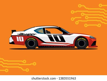 red white racing car on orange background. NASCAR Toyota supra.