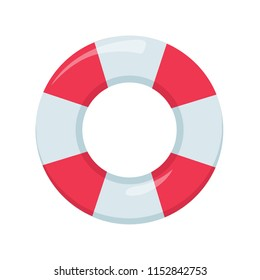 Red and White Ring Float. Beach buoy colorful symbol. Lifeguard device elemnt for emergency situation. Inflatable ring float isolated on white background. Water hoop sink preserver tube.